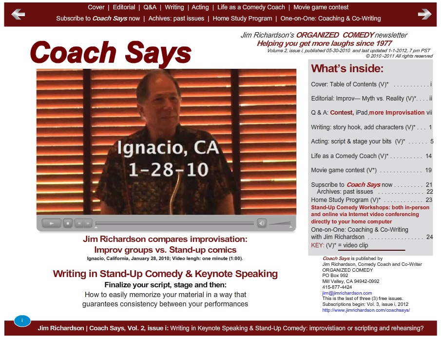Screen shot of Coach Says, Vol. 2, issue i.