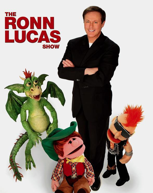 Ronn Lucas with 3 of his puppets.